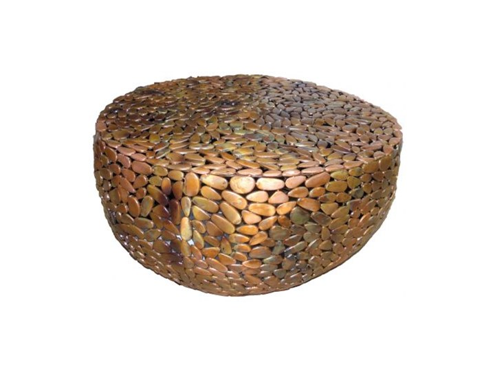 Stolik kawowy Stone Mosaic 82x76 cm miedziany