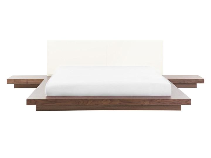 Łóżko jasne drewno 160 x 200 cm 2 stoliki nocne wysoki zagłówek styl japoński Łóżko skórzane Łóżko drewniane Kategoria Łóżka do sypialni