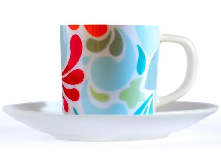Filiżanka z porcelany do espresso, kubeczek z talerzykiem w oryginalnej kolorystyce Filiżanka do espresso Filiżanka ze spodkiem Filiżanka do kawy Porcelana