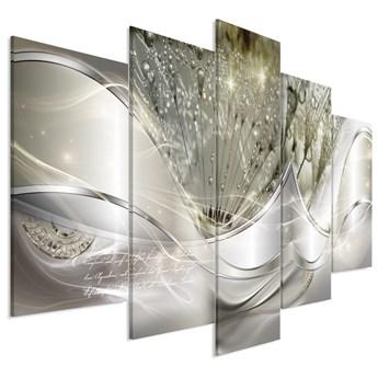 Obraz - Nowoczesne dmuchawce (5-częściowy) zielony szeroki