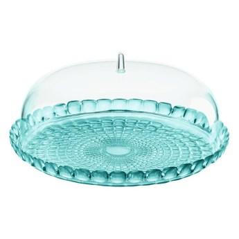 Guzzini - Tiffany -mała taca na ciasto z pokrywą, niebieska