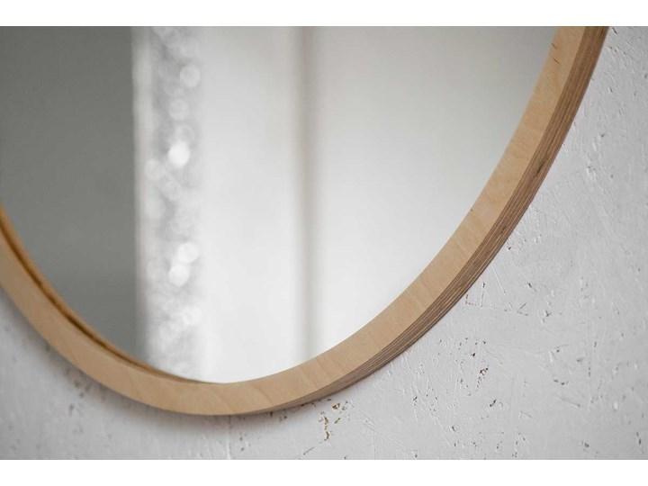 Lustro Scandi Wood – okrągłe w ramie ze sklejki Ścienne Pomieszczenie Łazienka Lustro z ramą Pomieszczenie Przedpokój