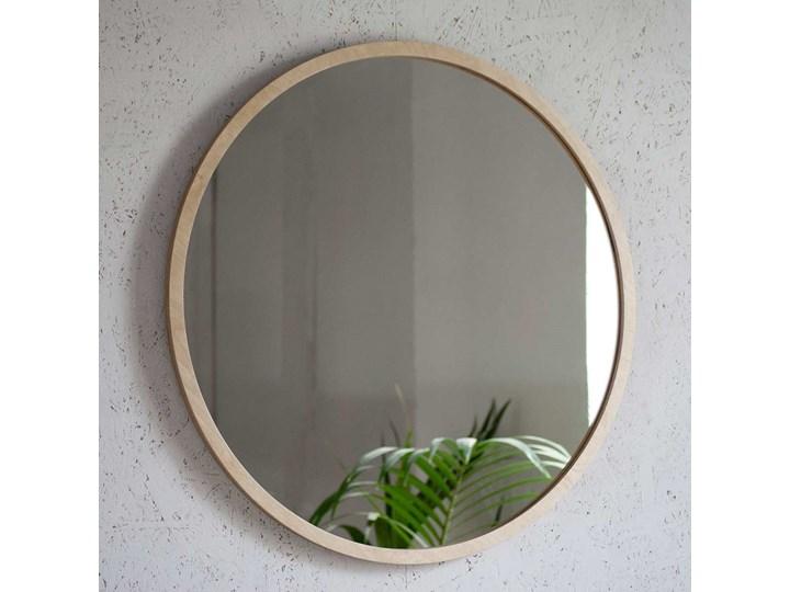 Lustro Scandi Wood – okrągłe w ramie ze sklejki Ścienne Lustro z ramą Pomieszczenie Sypialnia