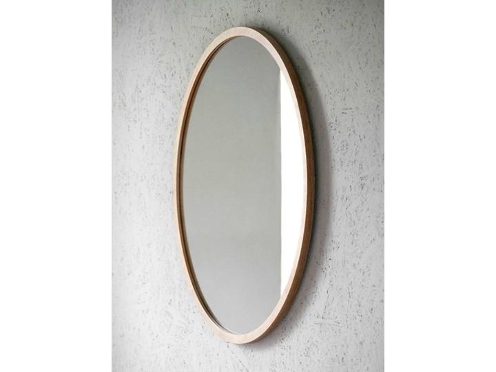 Lustro Scandi Wood – okrągłe w ramie ze sklejki Lustro z ramą Ścienne Pomieszczenie Łazienka