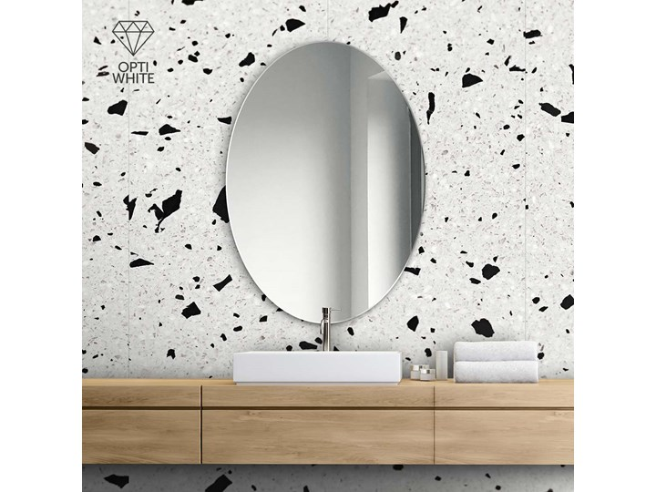 Lustro owalne super białe Lustro bez ramy Ścienne Kolor Biały