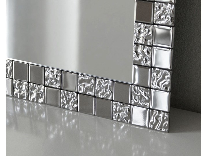 Duże lustro AUREA SQ Slim w srebrnej ramie Ścienne Prostokątne Lustro z ramą Styl Nowoczesny