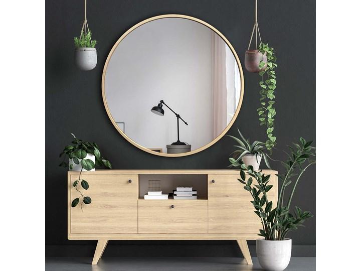 Lustro Scandi Wood – okrągłe w ramie ze sklejki Ścienne Lustro z ramą Pomieszczenie Salon Pomieszczenie Łazienka