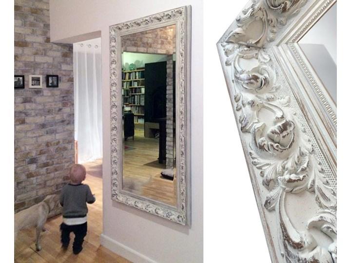 Lustro Prowansja – w białej postarzanej ramie Prostokątne Ścienne Lustro z ramą Pomieszczenie Garderoba