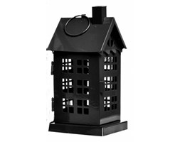 Lampion metalowy Domek Black III