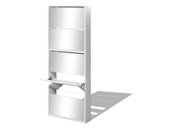 vidaXL Szafka na buty z 5 półkami, lustrzana, biała, 63x17x169,5 cm Płyta MDF Szkło Kolor Biały