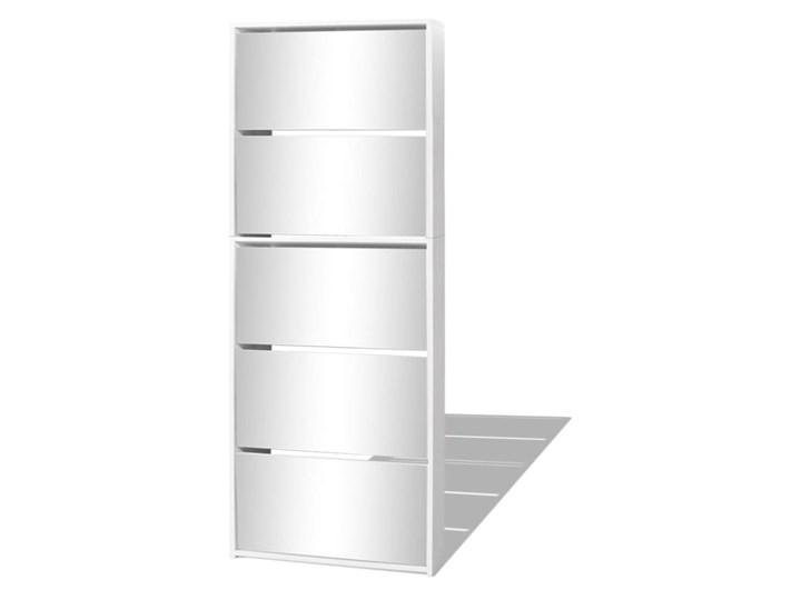 vidaXL Szafka na buty z 5 półkami, lustrzana, biała, 63x17x169,5 cm Szkło Płyta MDF Styl Nowoczesny