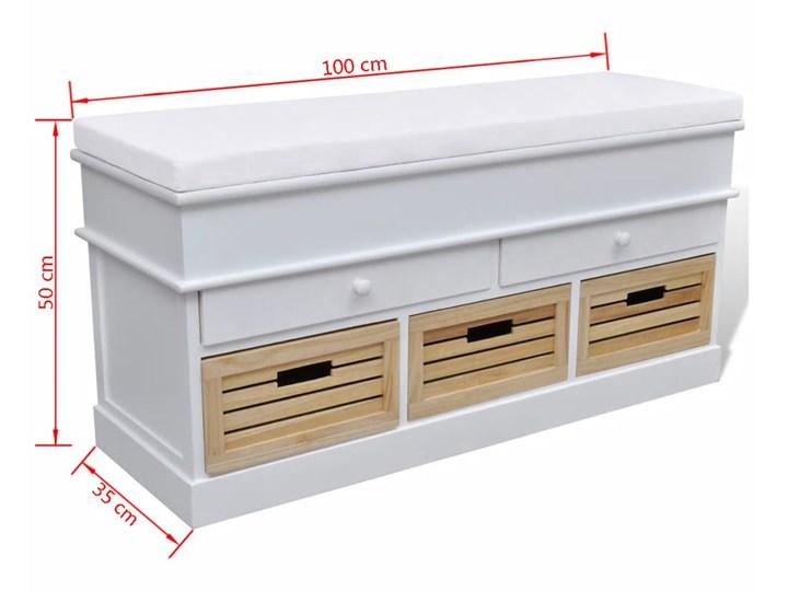 vidaXL Ławka z poduszką, 2 szufladami i 3 koszami, biała Pomieszczenie Sypialnia Kolor Biały