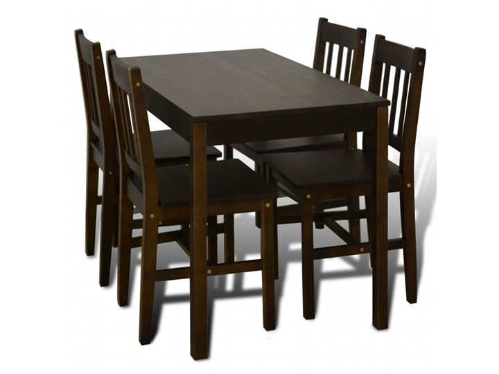 vidaXL Drewniany zestaw jadalniany stół z 4 krzesłami, brązowy