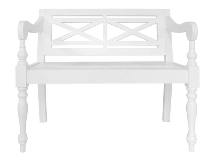 vidaXL Ławka Batavia, 98 cm, lite drewno mahoniowe, biała Z podłokietnikiem Kolor Biały