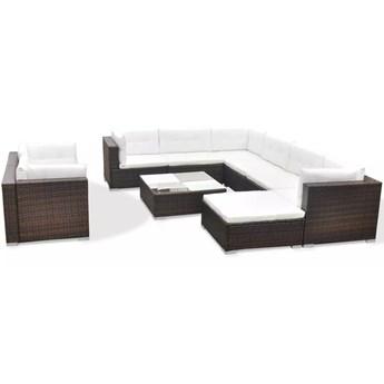 vidaXL 10-cz. zestaw mebli do ogrodu, poduszki, rattan PE, brązowy