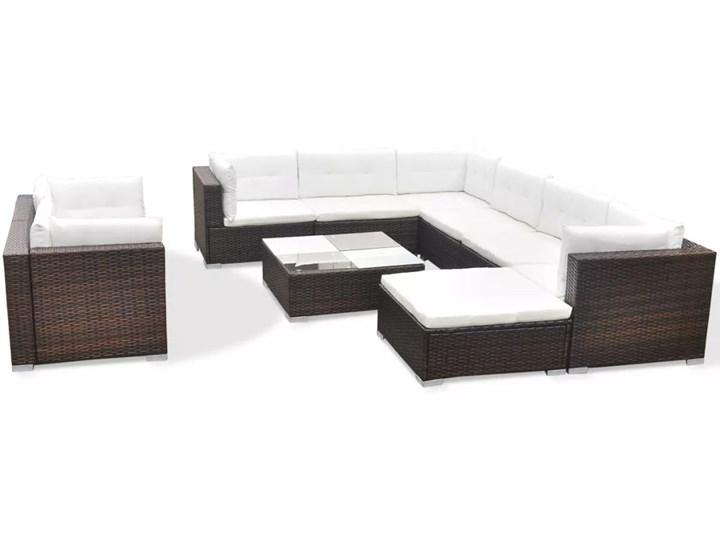 vidaXL 10-cz. zestaw mebli do ogrodu, poduszki, rattan PE, brązowy Zestawy modułowe Liczba miejsc Dziesięcioosobowy