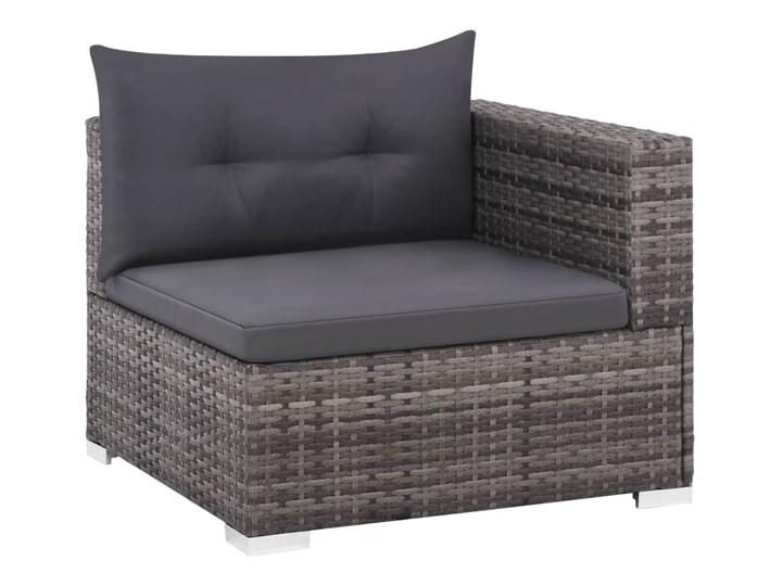 vidaXL 3-cz. zestaw wypoczynkowy do ogrodu, poduszki, rattan PE, szary Technorattan Tworzywo sztuczne Zestawy wypoczynkowe Stal Kolor Czarny