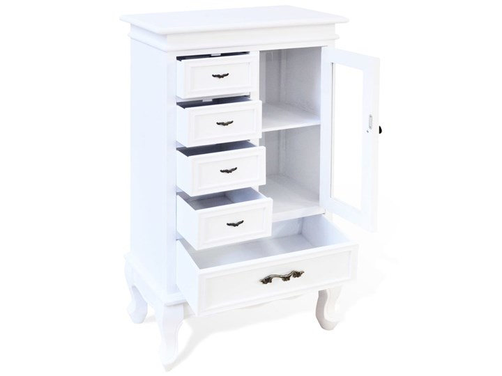 vidaXL Szafka z 5 szufladami i 2 półkami, biała Pomieszczenie Biuro Płyta MDF Drewno Sosna Szkło Płyta laminowana Kolor Biały