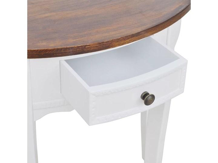 vidaXL Półokrągły stolik typu konsola z szufladą i brązowym blatem Płyta MDF Drewno Kategoria Stoliki i ławy