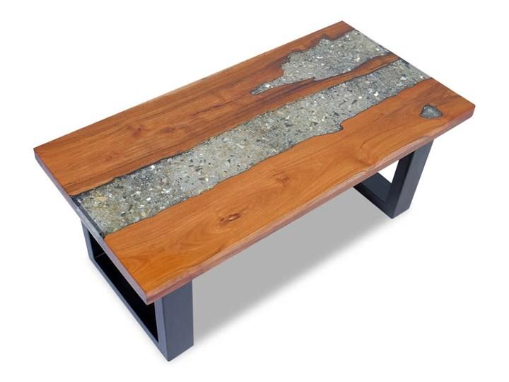 vidaXL Stolik kawowy z drewna tekowego i żywicy, 100x50 cm Styl Rustykalny Drewno Kształt blatu Prostokątne
