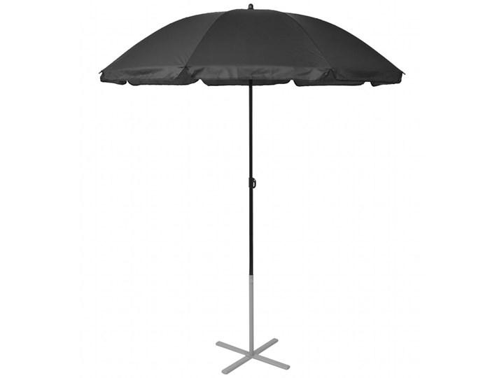 vidaXL Leżaki z parasolem, aluminiowe, czarne Tworzywo sztuczne Aluminium Stoły z krzesłami Stal Kolor Czarny