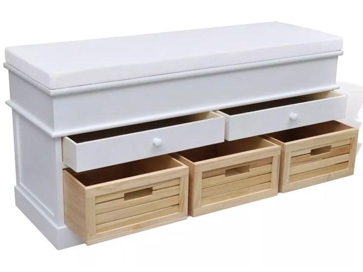 vidaXL Ławka z poduszką, 2 szufladami i 3 koszami, biała Kolor Biały Pomieszczenie Sypialnia