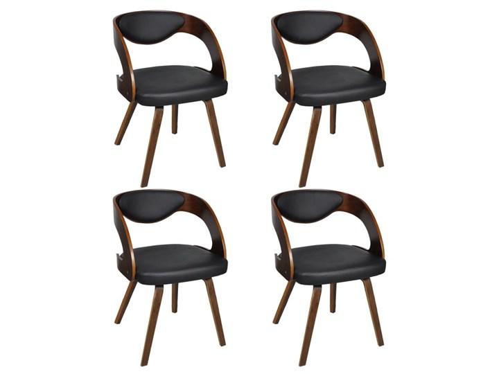 vidaXL Krzesła stołowe, 4 szt., brązowe, gięte drewno i sztuczna skóra Szerokość 52 cm Wysokość 76 cm Skóra ekologiczna Głębokość 44 cm Krzesło inspirowane Tapicerowane Tworzywo sztuczne Płyta MDF Szerokość 48,5 cm Tkanina Kolor Brązowy
