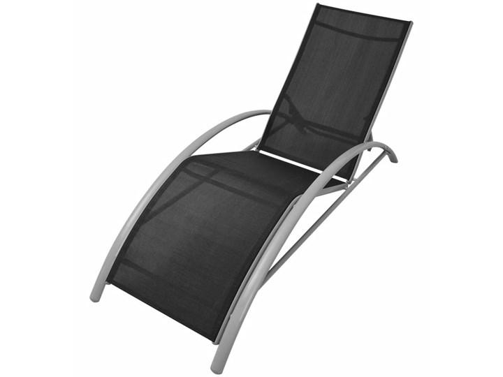 vidaXL Leżaki z parasolem, aluminiowe, czarne Stal Stoły z krzesłami Aluminium Tworzywo sztuczne Kolor Szary