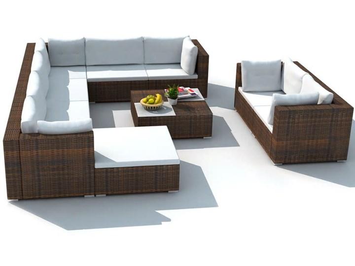 vidaXL 10-cz. zestaw mebli do ogrodu, poduszki, rattan PE, brązowy Zestawy modułowe Liczba miejsc Dziesięcioosobowy Zawartość zestawu Sofa