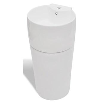 vidaXL Umywalka z otworem na kran oraz przelewem, okrągła, biała