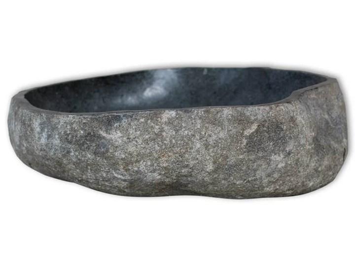 vidaXL Owalna umywalka z kamienia rzecznego, 46-52 cm Kategoria Umywalki Owalne Kamień naturalny Kolor Czarny