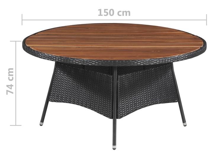 vidaXL 9-cz. zestaw mebli ogrodowych, rattan PE i akacja, czarny Stal Stoły z krzesłami Tworzywo sztuczne Technorattan Zawartość zestawu Fotele