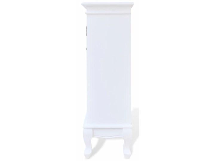 vidaXL Szafka z 5 szufladami i 2 półkami, biała Płyta MDF Szkło Płyta laminowana Sosna Drewno Kolor Biały