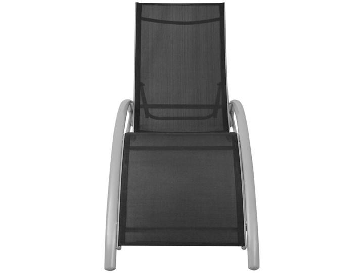 vidaXL Leżaki z parasolem, aluminiowe, czarne Stoły z krzesłami Stal Kolor Szary Aluminium Tworzywo sztuczne Kolor Czarny
