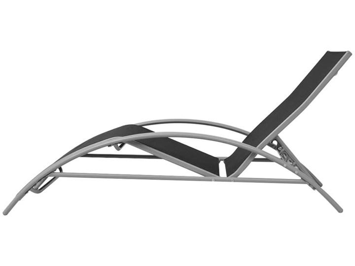 vidaXL Leżaki z parasolem, aluminiowe, czarne Tworzywo sztuczne Stoły z krzesłami Kolor Szary Stal Aluminium Kategoria Zestawy mebli ogrodowych