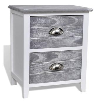 vidaXL Szafka nocna, szaro-biała, 38 x 28 x 45 cm, drewno paulownia