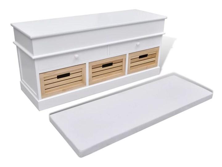 vidaXL Ławka z poduszką, 2 szufladami i 3 koszami, biała Pomieszczenie Sypialnia