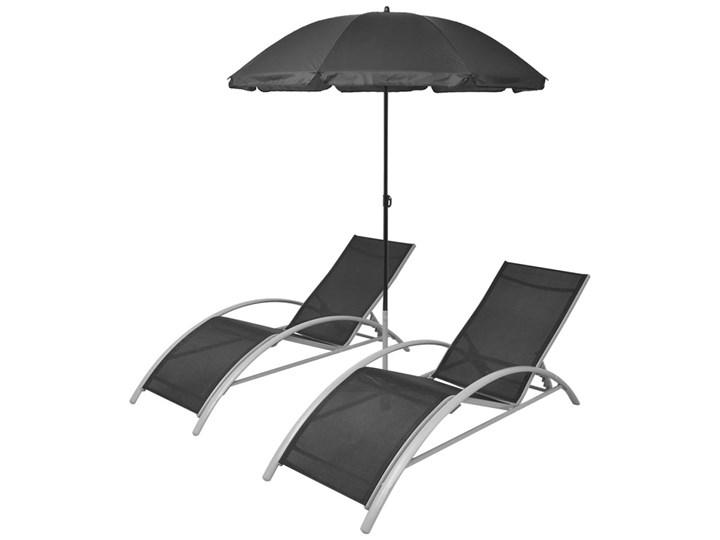 vidaXL Leżaki z parasolem, aluminiowe, czarne Stal Kolor Czarny Stoły z krzesłami Tworzywo sztuczne Aluminium Kolor Szary