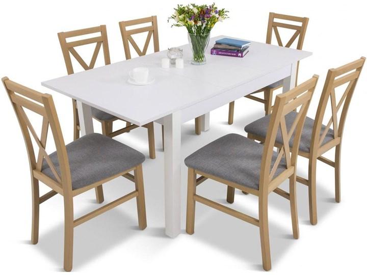Komplet mebli do jadalni - biały stół rozkładany 120-160 + 6 krzeseł Meblobranie Da Pb 6