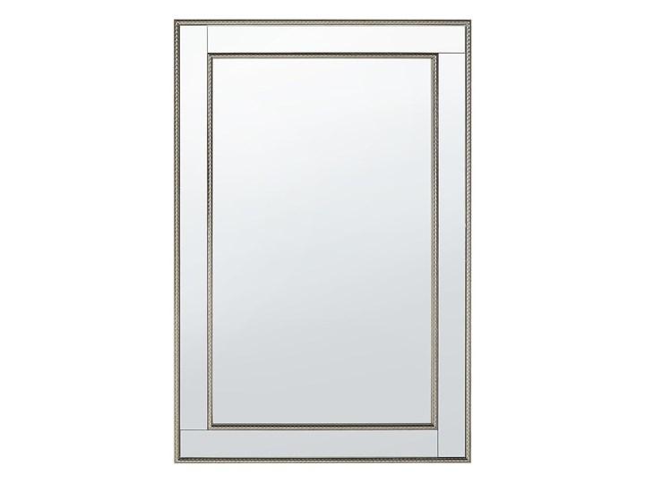 Lustro ścienne wiszące srebrne 60 x 90 cm Prostokątne Lustro z ramą Pomieszczenie Garderoba