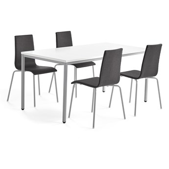 Zestaw mebli MODULUS + MELVILLE, stół i 4 krzesła ciemnoszary