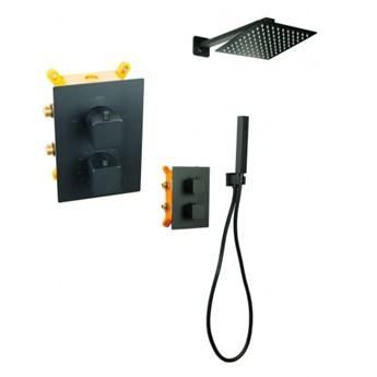Bateria Natryskowa Prysznicowa Termostatyczna VIVID TR2 Deszczownica Ultra Slim 40cm Black CZARNA