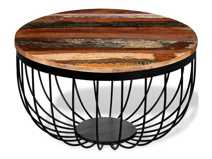 vidaXL Stolik kawowy, lite drewno odzyskane Wysokość 35 cm Metal Styl Vintage Rodzaj nóg Krzyżak