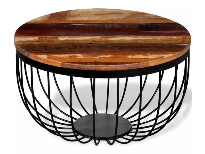 vidaXL Stolik kawowy, lite drewno odzyskane Rodzaj nóg Krzyżak Wysokość 35 cm Metal Styl Industrialny