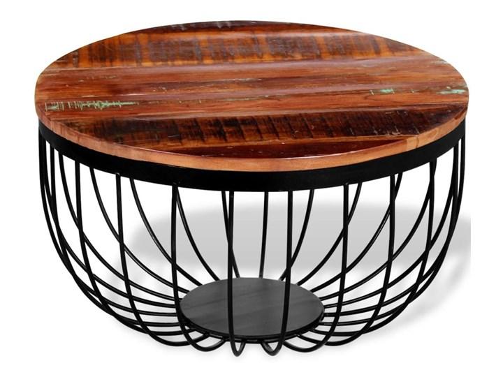 vidaXL Stolik kawowy, lite drewno odzyskane Metal Wysokość 35 cm Styl Vintage