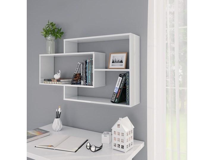 vidaXL Półki ścienne, wysoki połysk białe, 104x24x60 cm, płyta wiórowa