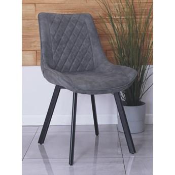 Eleganckie krzesło do jadalni cowboy vintage DORA szare/czarne