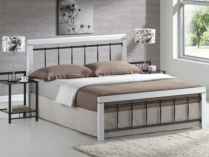 """Łóżko """"BERLIN"""" 160x200 biały/czarny"""