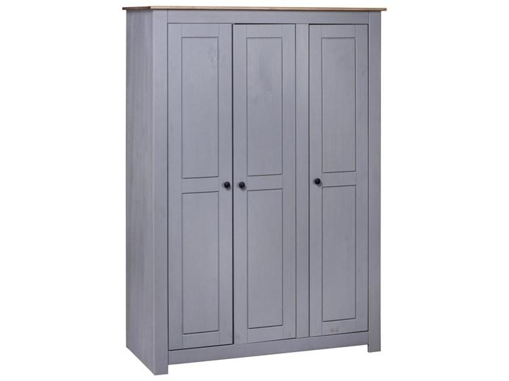 vidaXL Szafa trzydrzwiowa, szara, 118x50x171,5 cm, sosna, seria Panama Drewno Kolor Szary Szerokość 118 cm Głębokość 50 cm Pomieszczenie Garderoba