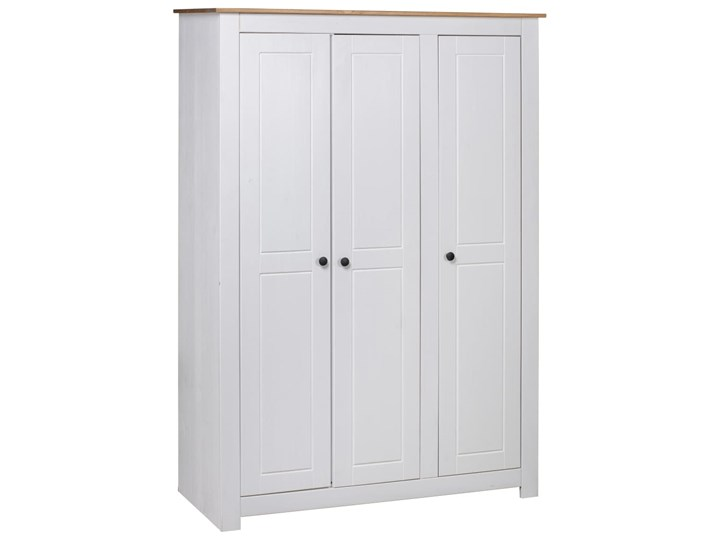 vidaXL Szafa trzydrzwiowa, biała, 118x50x171,5 cm, sosna, seria Panama Szerokość 118 cm Głębokość 50 cm Pomieszczenie Sypialnia Wysokość 171 cm Drewno Pomieszczenie Garderoba